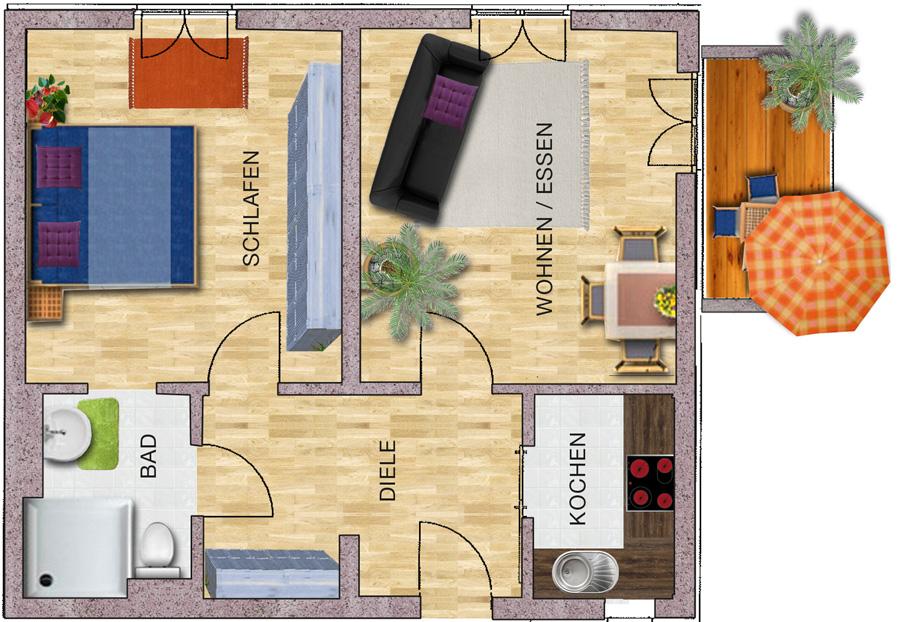 2 zimmer wohnung caritas wohnen mit service. Black Bedroom Furniture Sets. Home Design Ideas