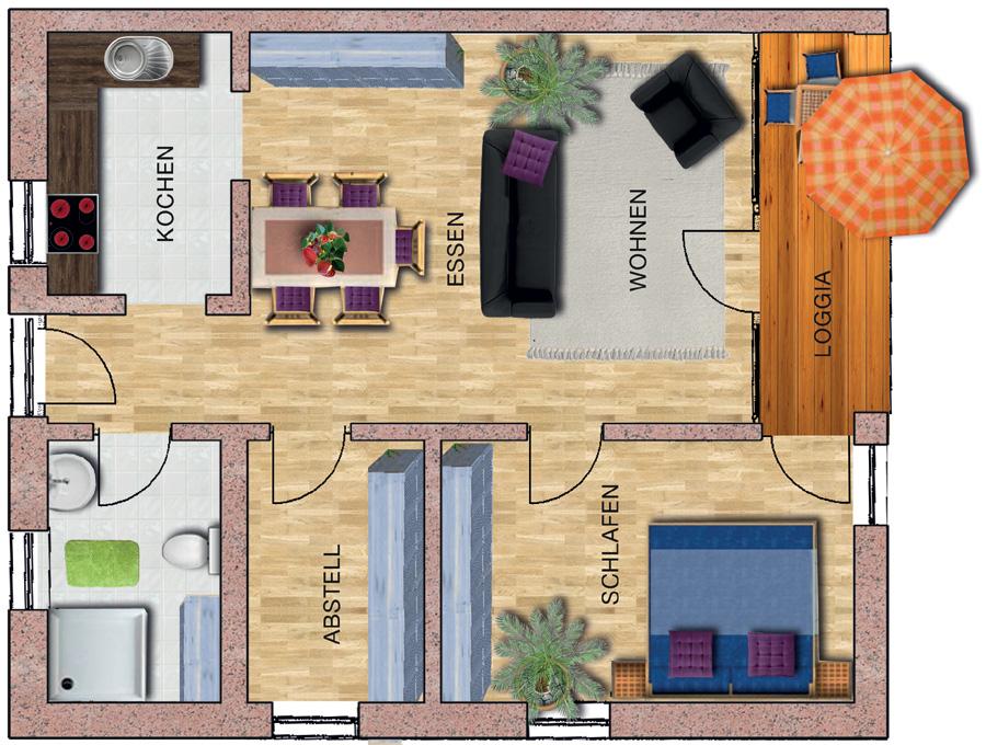 2-Zimmer-wohnung| Caritas-Wohnen mit Service